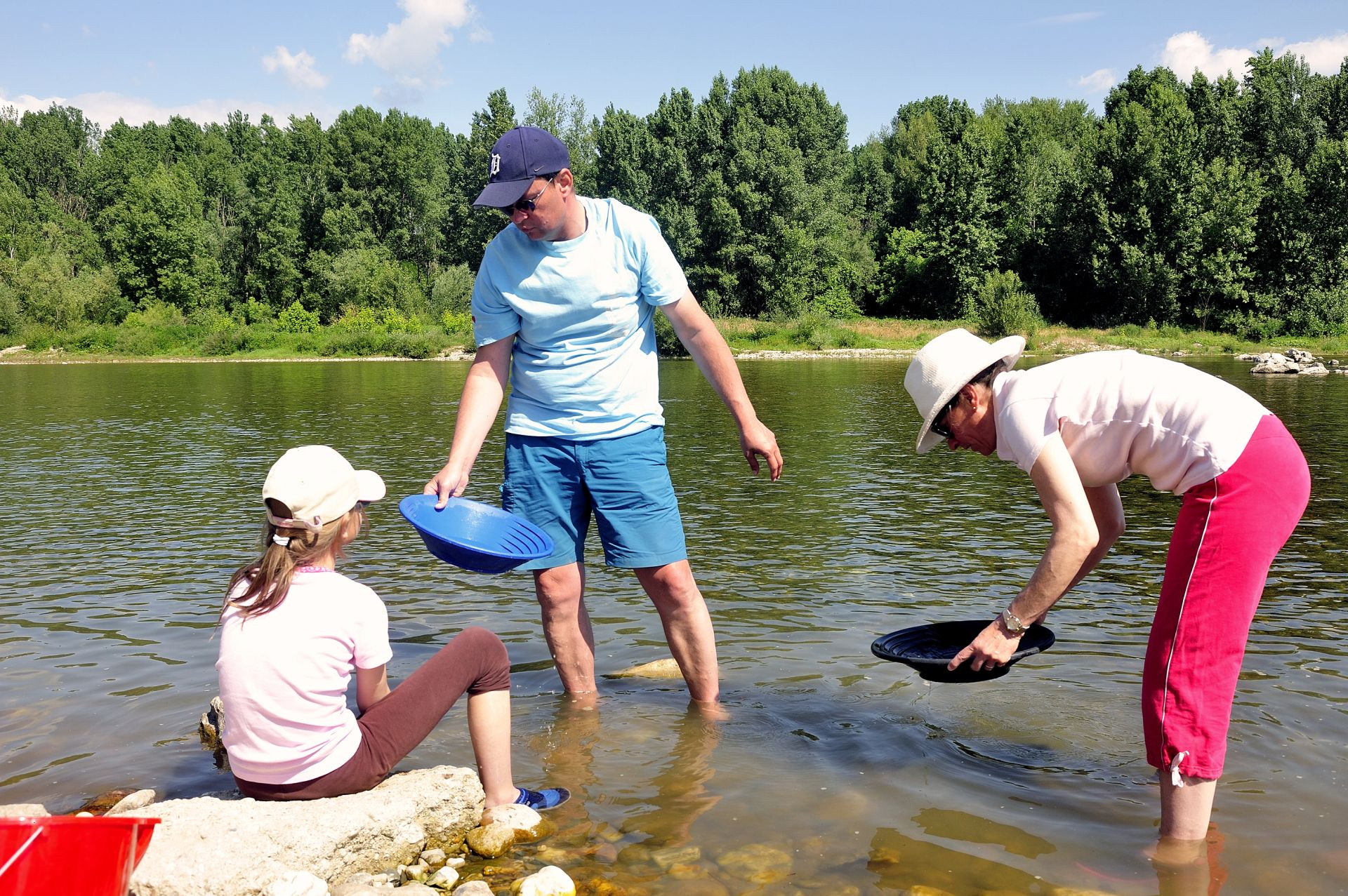 CARDET, FRANCE - MAY 25: Gold prospectors of all ages on the banks of the Gardon River Gard French gold coming down from the Cevennes, may 25, 2015.