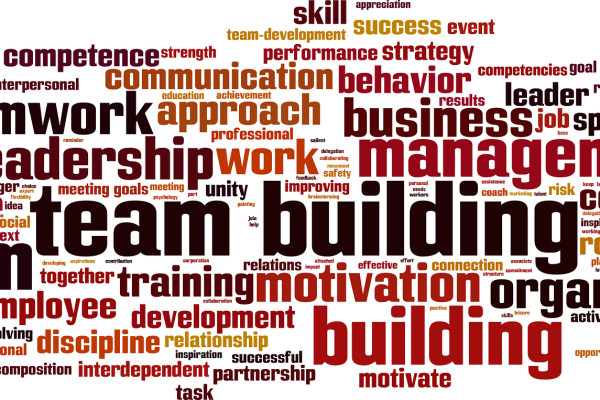 Team building word cloud concept. Vector illustration isolated on white